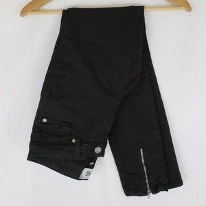 Paige Black Skinny Jeans Zipper Detail Size 25